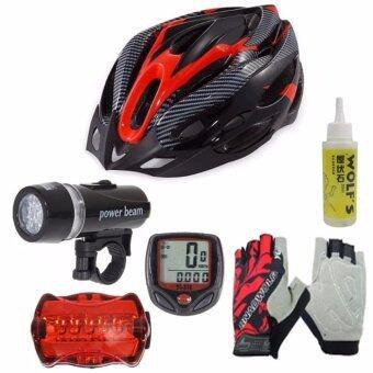 Morning หมวกจักรยาน H-18 +ไมค์ Sunding สีแดง + ชุดไฟจักรยาน YU Dong + ถุงมือฟรีไซด์ สีแดง+WOLF'S น้ำมันหยอดโซ่จักรยาน