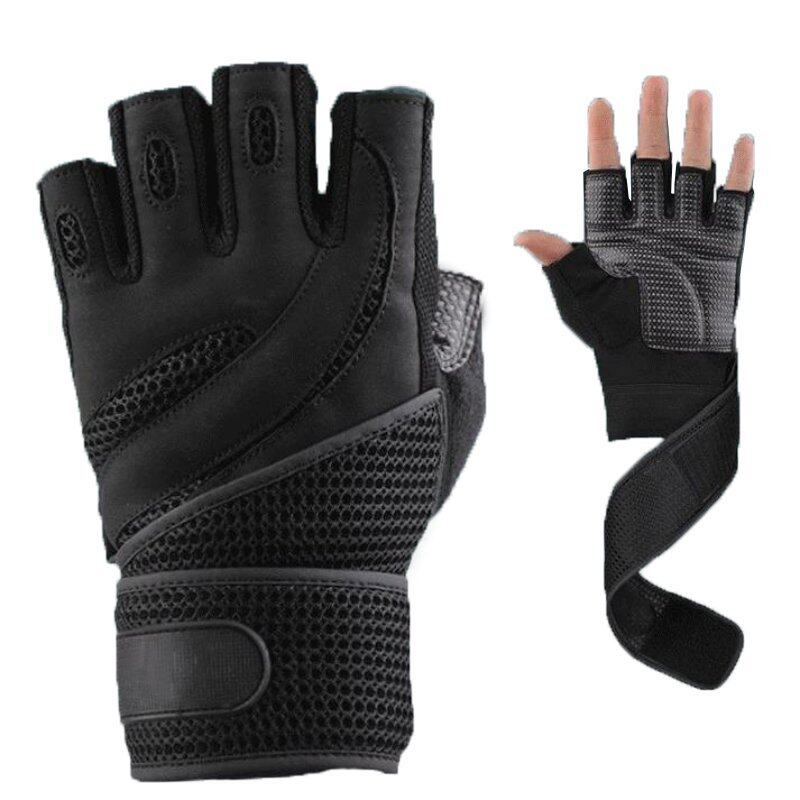 OEM 1 Pair Weightlifting Fitness Gloves Wrist Wrap Workout Black/Brown M/L/XL ...