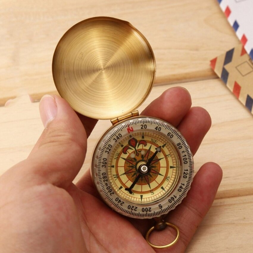 Outdoor Hiking Camping Accessories Classic Brass Pocket Watch Style Camping Compass Hiking - intl