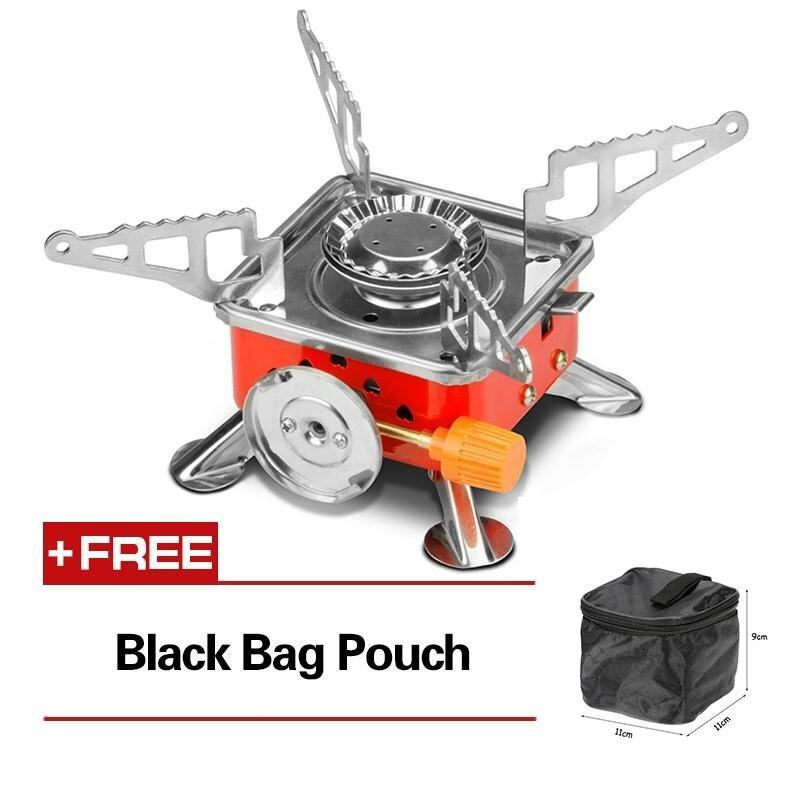 Outdoor Kitchen 4000BTU Piezoelectric Gas Butane Stove Four Square Burner Mini Card Furnace Camping Stoves - intl