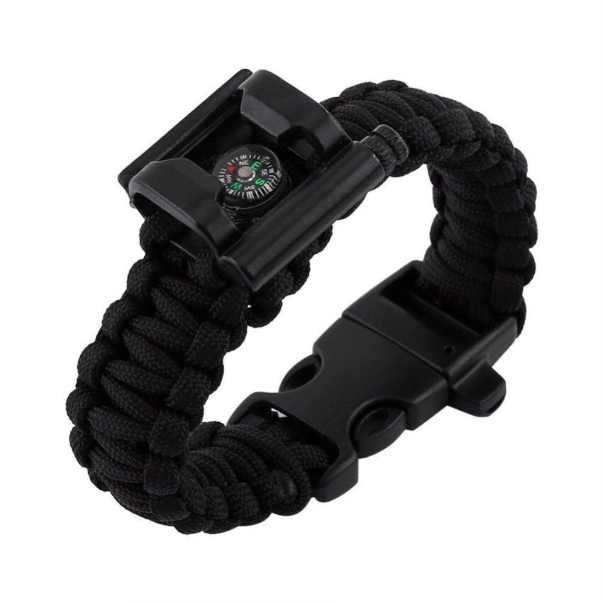 Outdoor Survival Paracord Bracelet With Whistle Compass Bottle Opener Kits(black) - intl