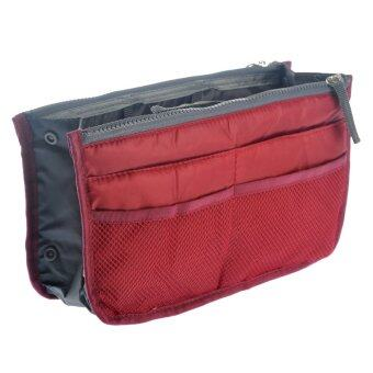 Portable Multi-function Nylon Bag In Bag Handbag Cosmetic Storage Bag Organizer Travel Bag Pouch (Wine Red)