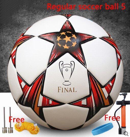 Soccer Football Indoor soccer Outdoor soccer Regular soccer ball 5 Seamless thermal bonding football Soft leather PU football - Intl