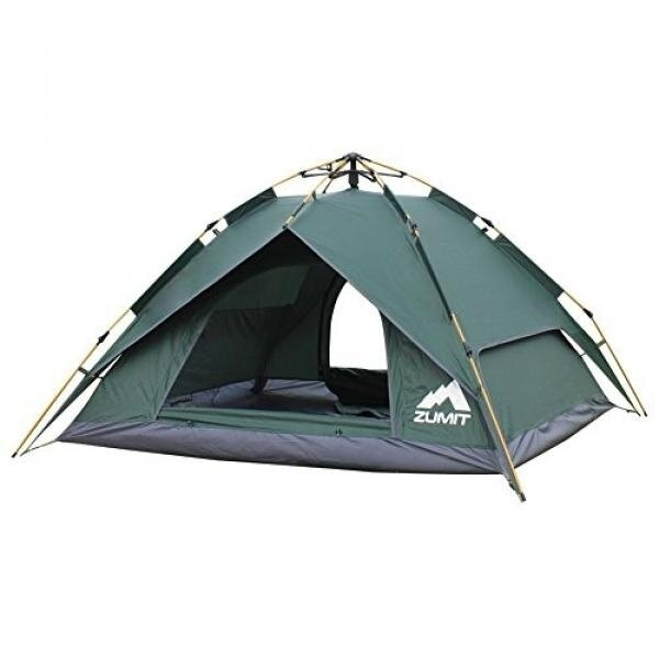 ZUMIT Outdoor Family Camping Tent 3-4 Person Easy Assembly Waterproof Tent Dark Green #601 - intl