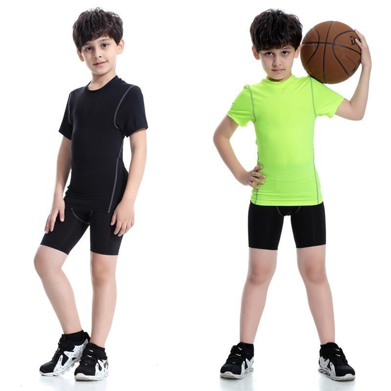 2 Pieces Kids Compression Shirt Underwear Boys Youth Under Base Layer Short Sleeve Top+S ...