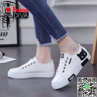 2017 NEW Fashion Diva รองเท้าผ้าใบแฟชั่น สไตล์เกาหลี ลายแมว
