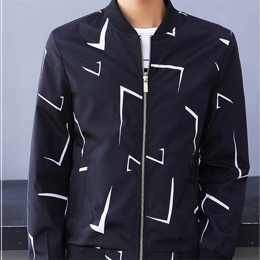 2017 New high quality Male Brushed Coat Printing Jacket M(black) - intl ...