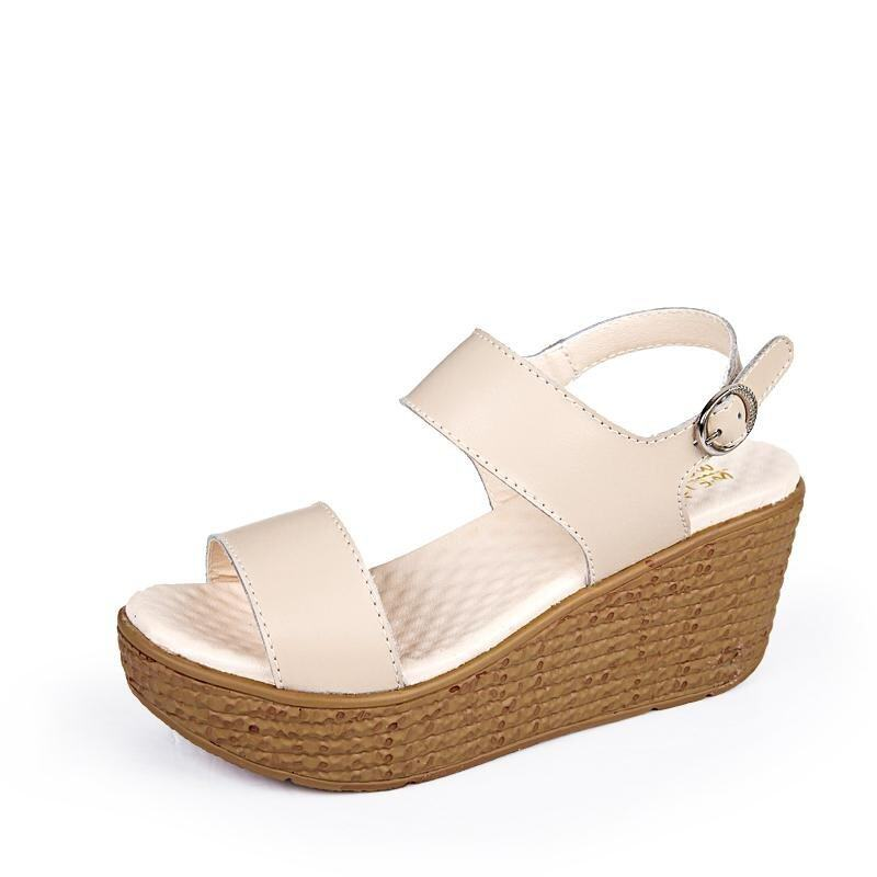 2017 Summer Women Wedges Sandals Ladies Elegant High Heels Comfortable Shoes(beige) - in ...
