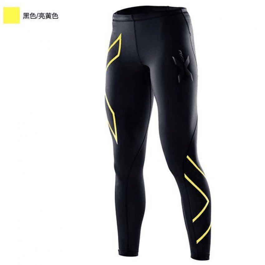2XU Ladies Yoga Pants Exercise fitness Women quick drying pants Running tight pants Riding pants High elastic Black (yellow pattern) - intl
