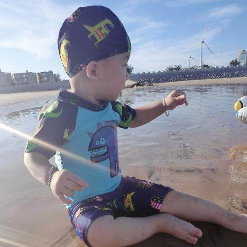 ชุดว่ายน้ำเด็กผู้ชาย ลายไดโนเสาร์ สีฟ้า เซ็ต 3 ชิ้น ไซส์ 4-14 # 0258