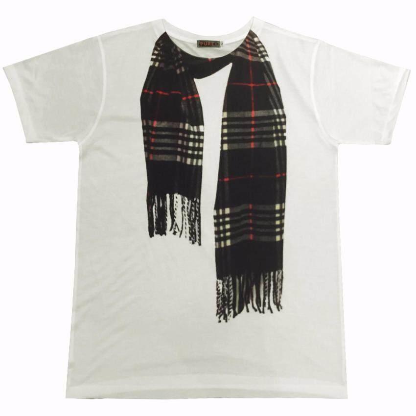 เสื้อ 3D T-shirt Pure+ เสื้อขาวพิมพ์ลายผ้าพันคอ รุ่นP00019 Scarf19