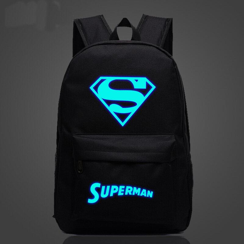 45.72ซมสีดำ Superman Noctilucent พิมพ์กระเป๋าเป้สำหรับเด็กกระเป๋าเด็กวัยรุ่นโรงเรียนแสง (ในประเทศ)