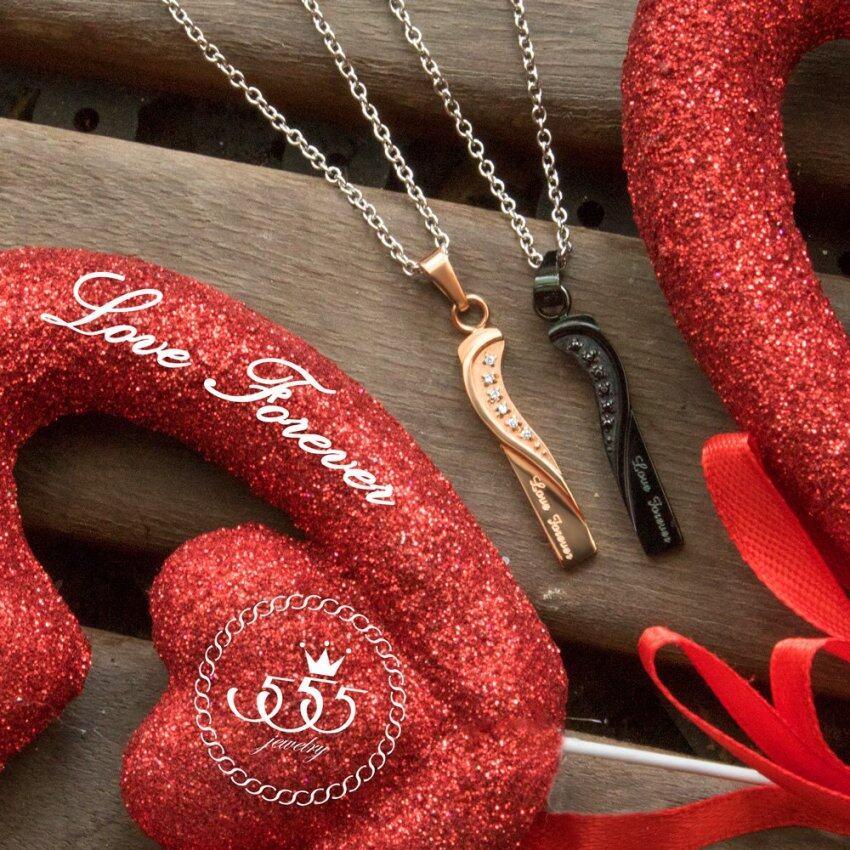 นำเสนอ 555jewelry จี้พร้อมสร้อยคู่รัก (Black/Pink Gold) สุดคุ้ม
