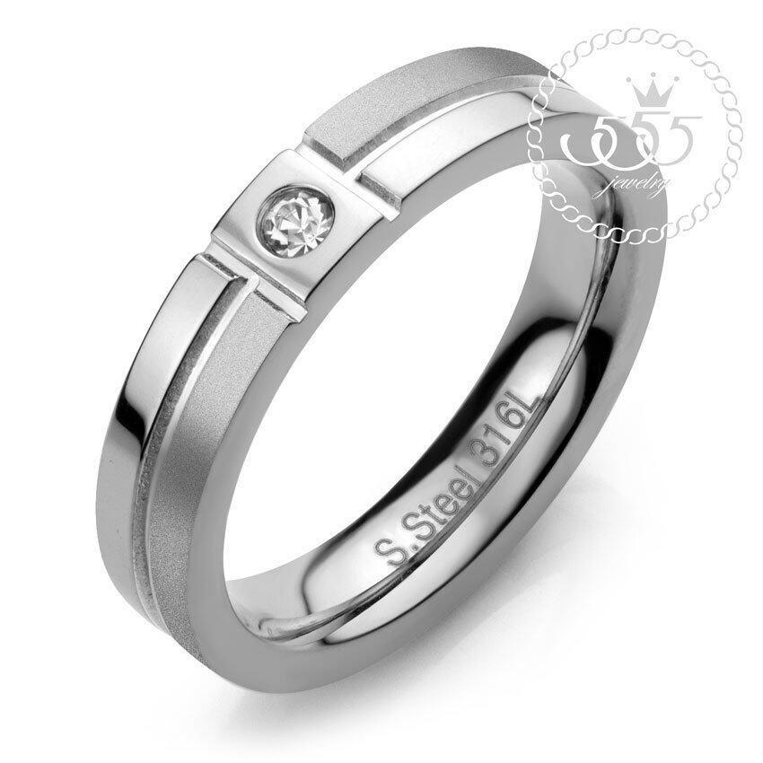 นำเสนอ 555jewelry Stainless Steel 316L แหวนดีไซน์สวยสไตล์ Minimal รุ่นAZR-R038-A1-S (Steel ) สุดคุ้ม