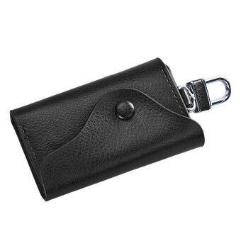 กระเป๋าสตางค์พวงกุญแจหนังคนยึดรถ 6 เคสแหวนกระเป๋าสีดำ