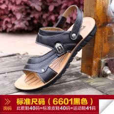 เกาหลีหนังเยาวชนฤดูร้อนรองเท้าลำลองผู้ชายรองเท้าแตะ (6601 สีดำ) ราคา 500 บาท(-74%)