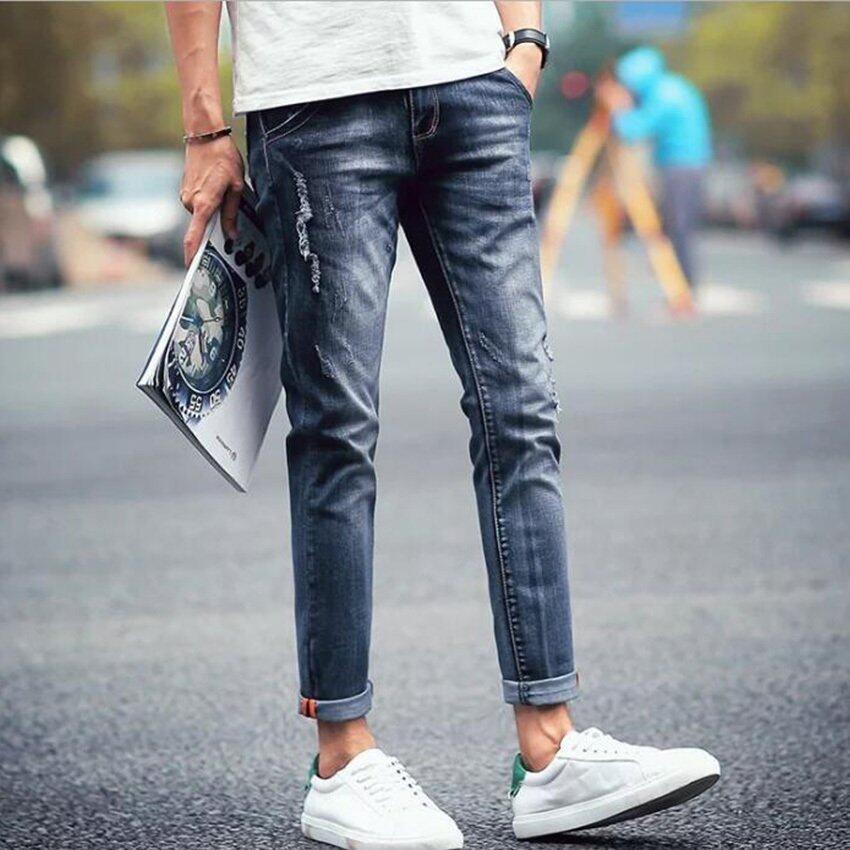 กางเกงยีนส์ยืดเกาหลีบางคนแนวโน้มสไตล์ 9 แต้มกางเกงผู้ชายกางเกง 9 แต้มกางเกงยีนส์ ...