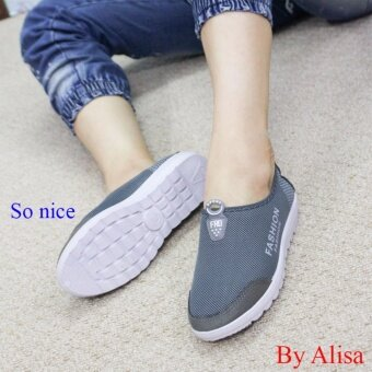 Alisa Shoes รองเท้าผ้าใบแฟชั่น รุ่น 99Q049 Grey