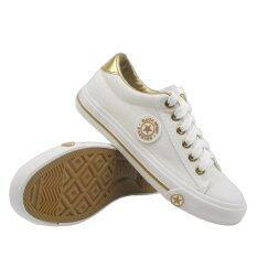 Alisa Shoes รองเท้าผ้าใบแฟชั่น รุ่น 9108- White Gold