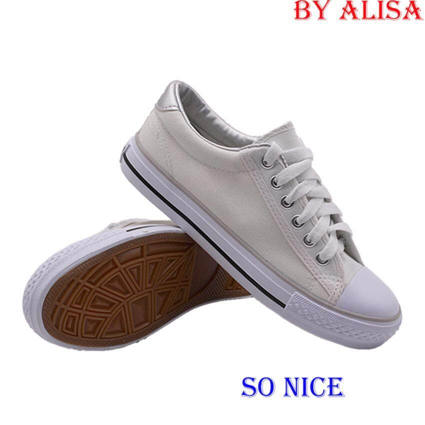 Alisa Shoes รองเท้าผ้าใบผู้หญิง รุ่น TY025 White Silver ...