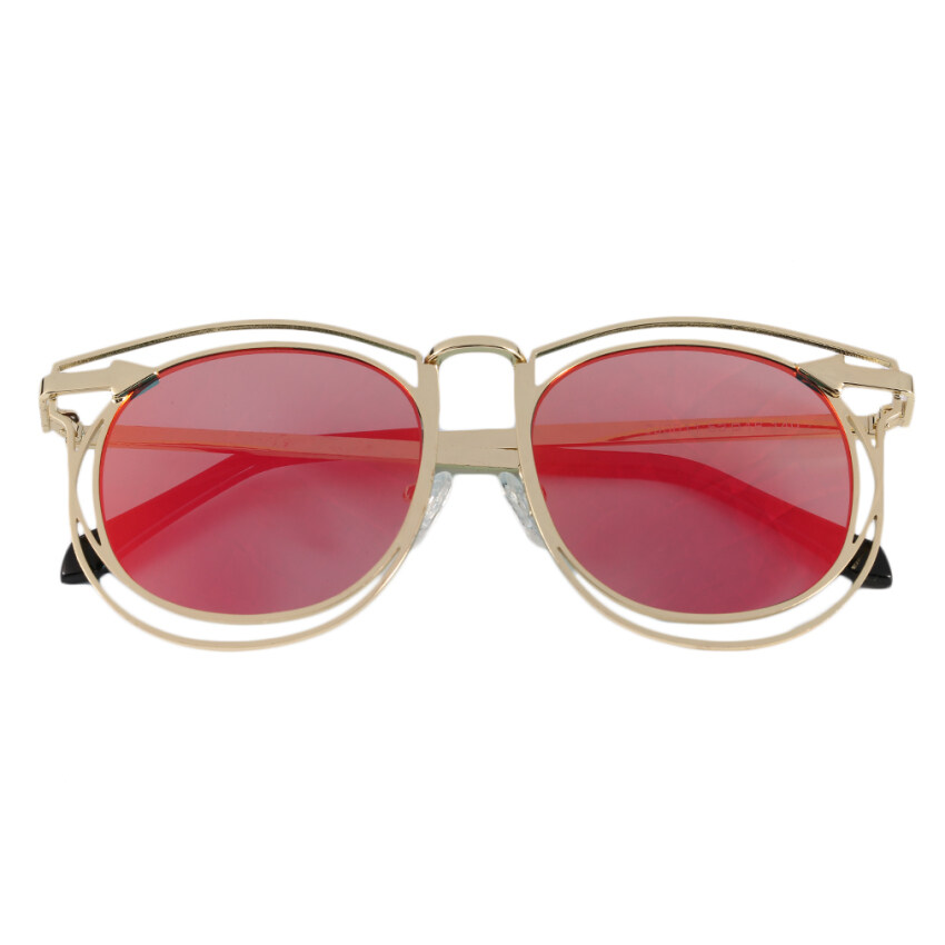 Allwin Women's Double Metal Frame with Arrow Colorful Round Lens UV400 Sunglasses golden frame red lens - intl