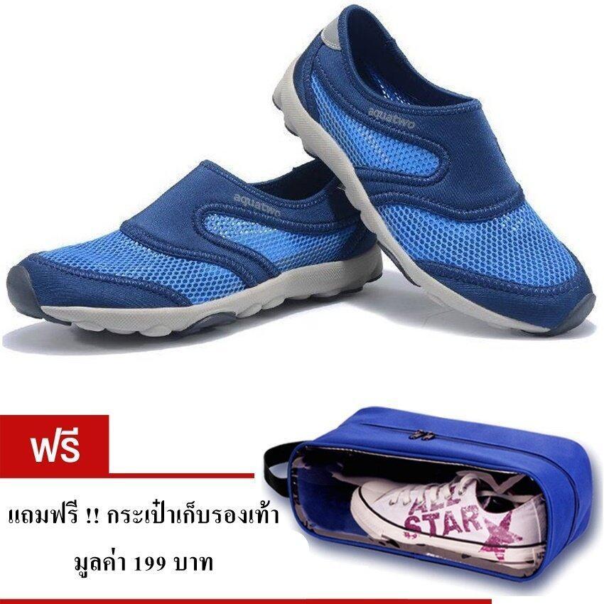 Aquatwo รองเท้าลุยน้ำ สำหรับผู้ชาย ใส่ดำน้ำ ใส่ลำลอง รุ่น S503 (สีน้ำเงิน) แถมฟรี กระเป๋ ...