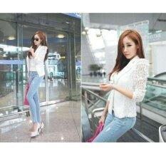 Autumn Women Blazer Jacket Lace Splicing Long Sleeves Slim Suit One Button Casual Coat Work Wear White - Intl ราคา 283 บาท(-36%)