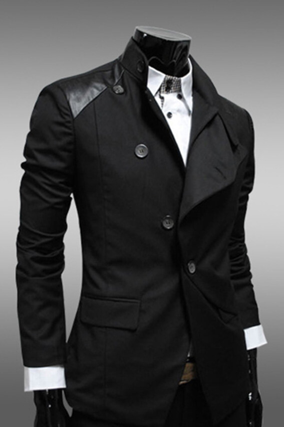 Azone Men Mens Casual Slim Fit Stylish Korean Dress Coats Jackets Suit (Black) - intl ...