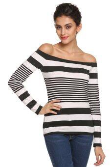 AZONE Zeagoo Women Lady Long Sleeve Off Shoulder Stripe Slim Top Casual T-Shirt ( Black + White ) - Intl