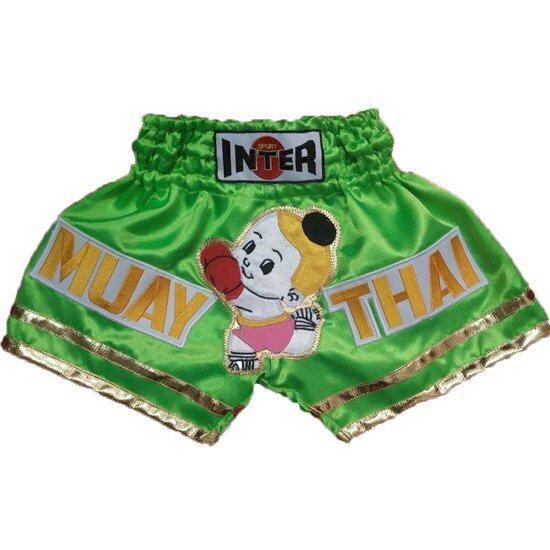 Baby inter กางเกงมวยไทย ขอบขาทองสองเส้น ติดตัวเด็กจุก (สีเขียว)