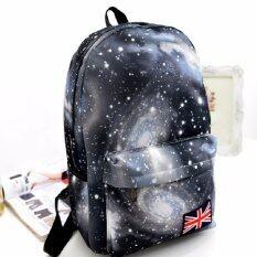 Bag Fashion กระเป๋าเป้สะพายหลัง กระเป๋าลายกราฟฟิก ฟรุ้งฟริ้ง รุ่น666 (สีดำ)