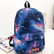 Bag Fashion กระเป๋าเป้สะพายหลัง กระเป๋าลายกราฟฟิก ฟรุ้งฟริ้ง รุ่น666 (สีฟ้า)