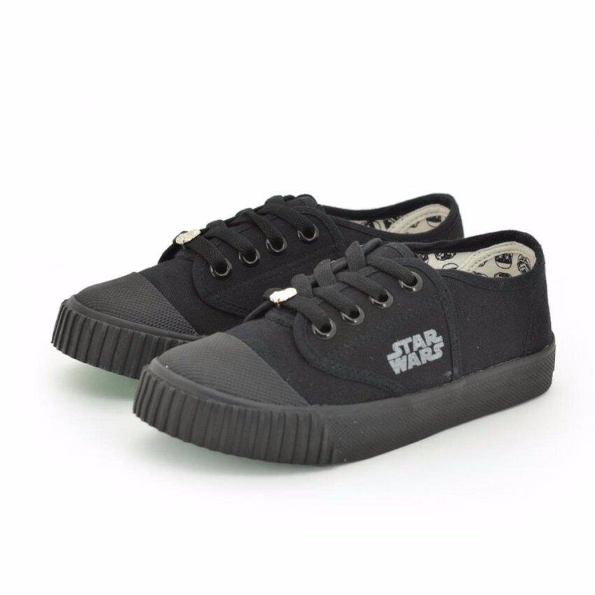 Bata Disney รองเท้านักเรียนผ้าใบ สีดำ ปั๊มสตาร์วอร์ รหัส 8296753