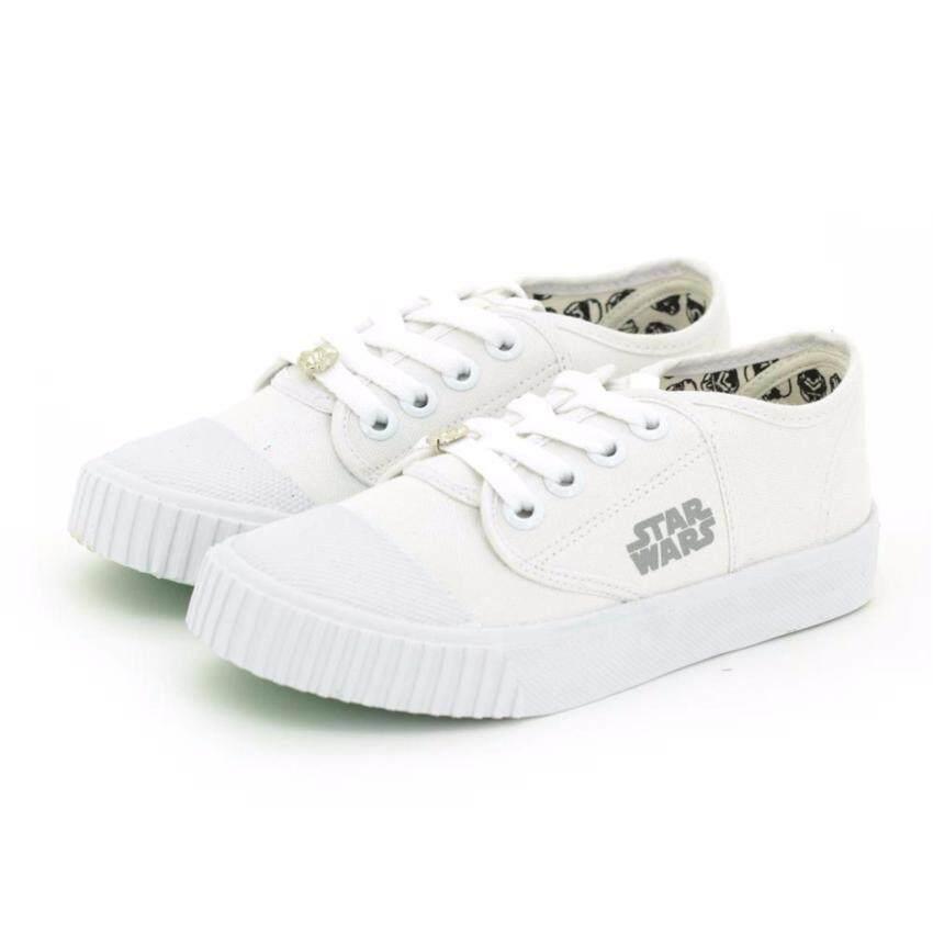 Bata Disney รองเท้านักเรียนผ้าใบ สีขาว ปั๊มสตาร์วอร์ รหัส 8291753