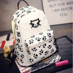 BB กระเป๋าเป้สะพายหลังลายแมว (สีขาว) รุ่น 1018