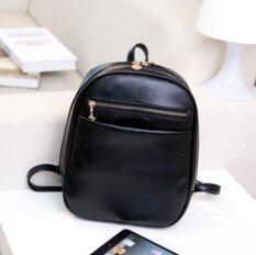 beautiful fashion กระเป๋าเป้ เป้สะพายหลัง แฟชั่นเกาหลี หนังสีดำ