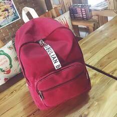 BIBULIAN กระเป๋าเป้สะพายหลังผู้หญิง เป็นกระเป๋าผ้าอย่างดี สีแดง