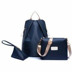 Bingo Fashion 3-psc Backpack Waterproof Nylon Oxford Bags - Backpack / Shoulder Bag / Small Bag(BLUE)