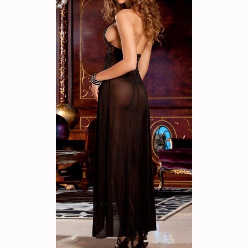 BU Black New Women Sexy Lingerie Lace Nightwear Babydoll Long Dress Sleepwea+G-string -  ...