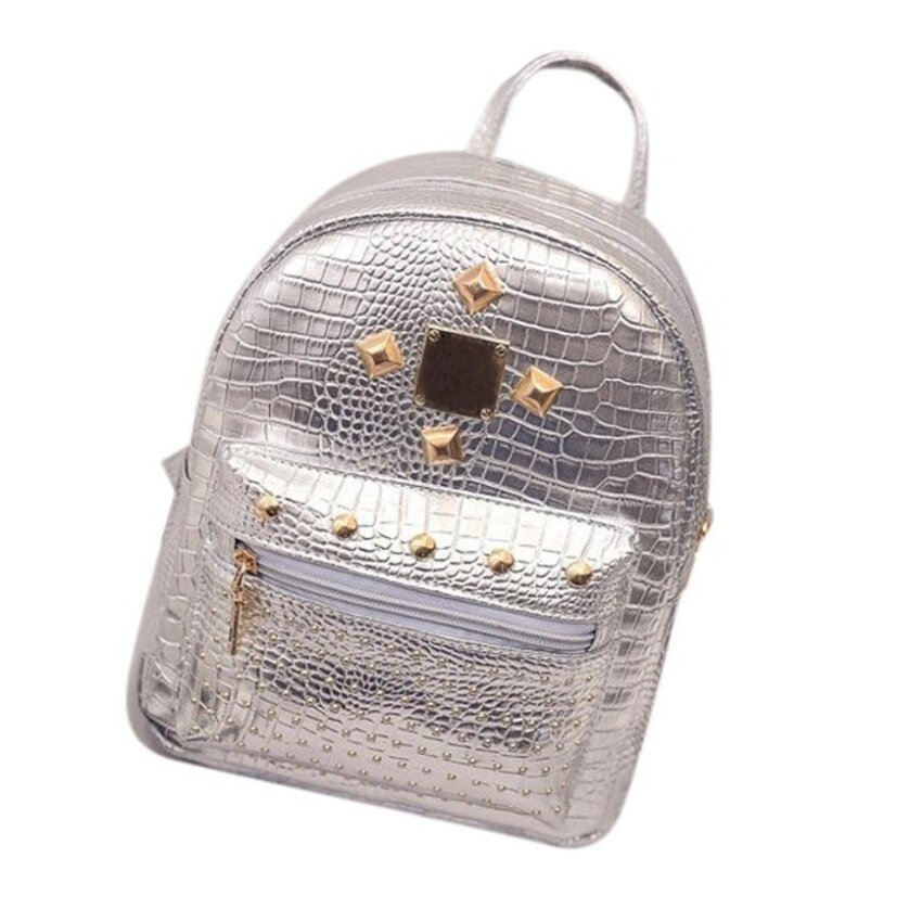 Bubblekiss Fashion Trend Mini Small Double Back Personality Woman Crocodile Pattern Rivet Backpack -Silver - intl