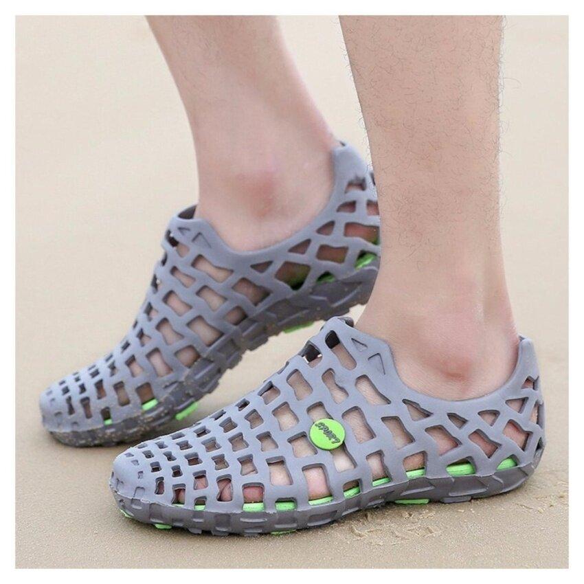 Casual Mannen Sandalen Mode Plastic Sandalen Ademende Schoenen Mannen Zomer Strand Schoenen Platte Outdoor Water Schoenen Slip Op EVA Sandalen - intl ...