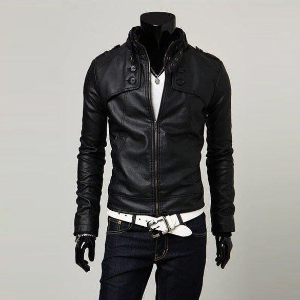 ราคาพิเศษ ชายเสื้อนอกหนัง Pu บูธปกเสื้อแจ็กเก็ตขี่มอเตอร์ไซค์สีดำ สำหรับคุณ