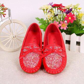 Children's Diamond Princess Leather Shoes Factory Direct Sale-red - intl