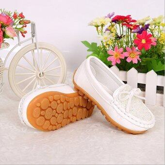 Children's Diamond Princess Leather Shoes Factory Direct Sale-white - intl