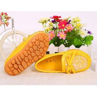 Children's Diamond Princess Leather Shoes Factory Direct Sale-yellow - intl