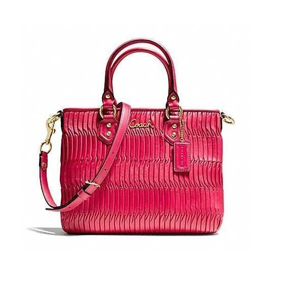 Coach Gathered Leather Ashley Mini Tote Raspberry Pink (Red)