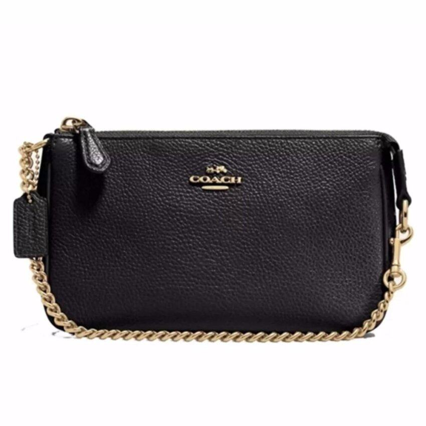 COACH กระเป๋า LARGE WRISTLET 19 IN PEBBLE LEATHER F53340 (BLACK)