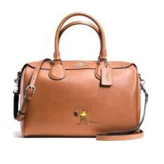COACH กระเป๋าถือ X PEANUTS BENNETT SATCHEL IN CALF LEATHER