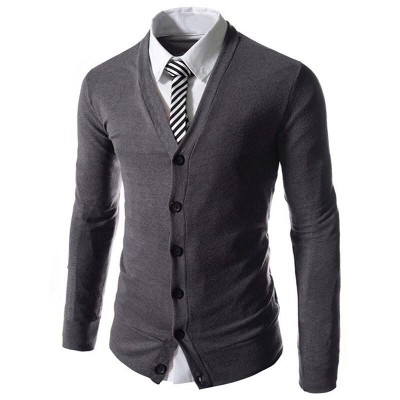 Cocotina แฟชั่นบุรุษทรงเพรียวคอวีแขนเสื้อสเว็ตเตอร์ถักเสื้อกันหนาวแบบสวมแจ็กเก็ตยาวหนาเส ...