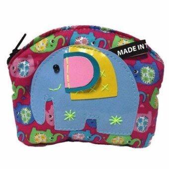 กระเป๋าสตางค์ Coin Purse Wallet ลายช้าง ขนาด 10 x 8 ซม (สีชมพู)